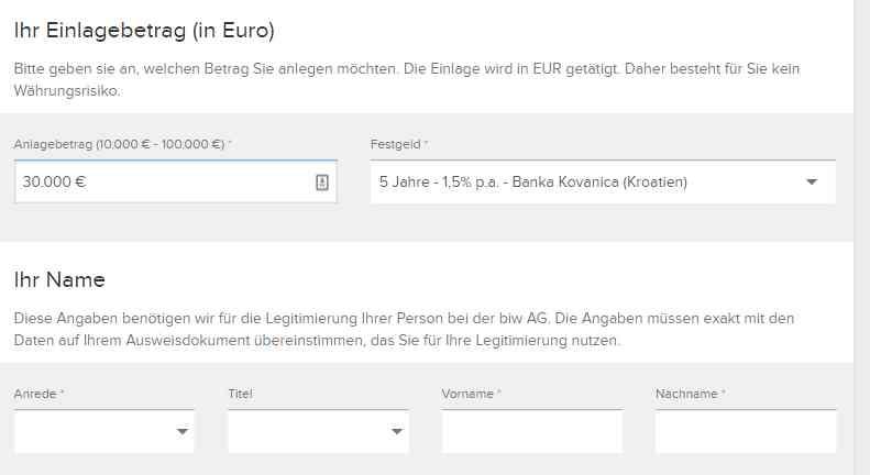 Banka Kovanica Festgeld - Online Formular