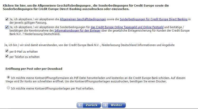 Credit Europe Tagesgeld - Bestätigung
