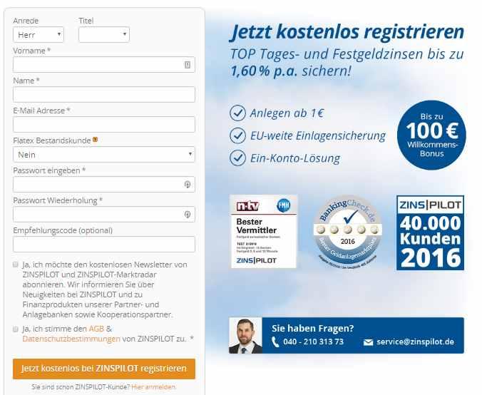 FIMBank Flexigeld24 - Registrierung