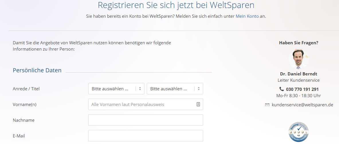 Fibank Festgeld - Registrieren Weltsparen