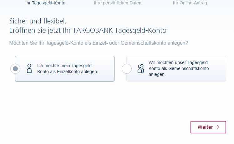 Targobank Tagesgeld - Kontoeröffnung