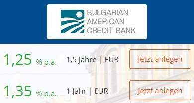 BACB Festgeld - Zinsen