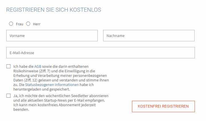 Seedmatch Erfahrungen - Registrieren