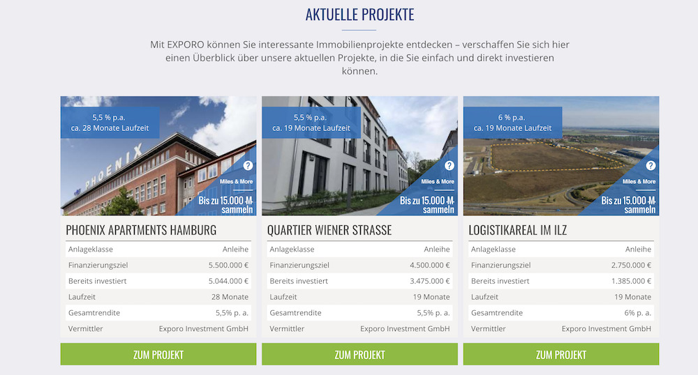 Exporo Immobilien-Projekte Investment