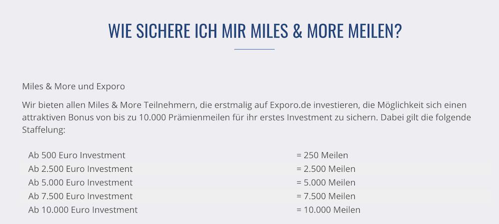 Exporo Miles&More Meilen