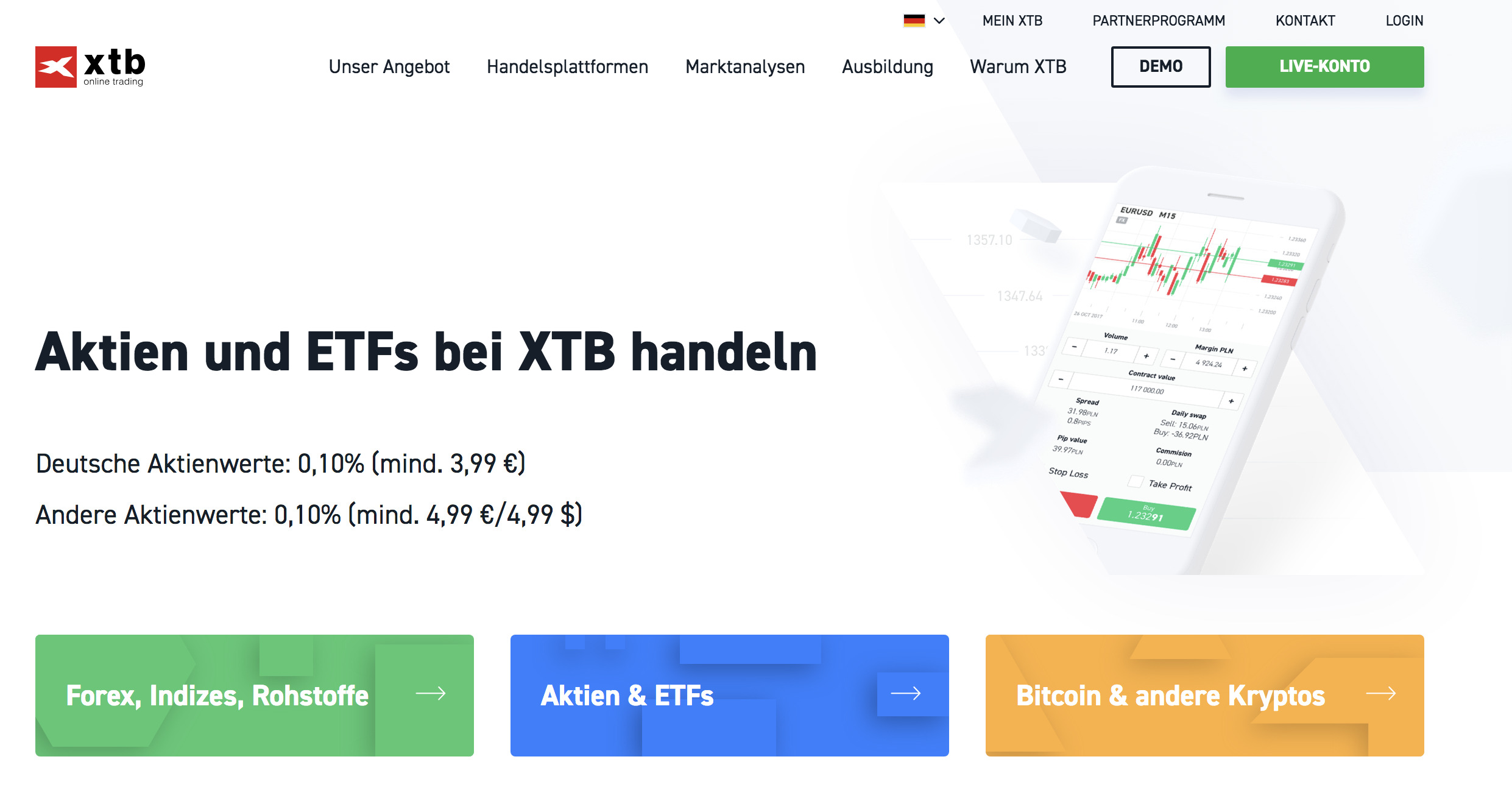Neben dem Forexhandel bietet XTB auch Aktien und ETFs an