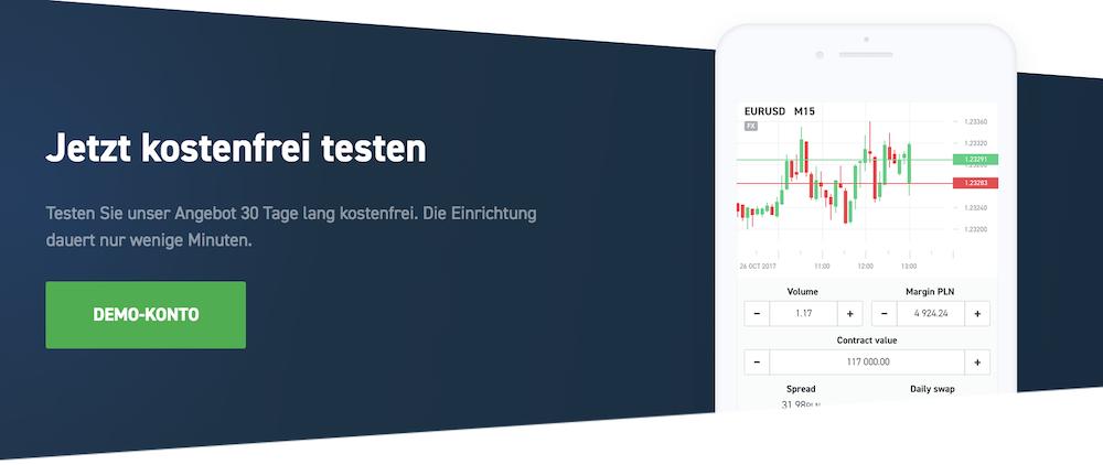 Mit dem Demokonto des Online-Brokers XTB können Anleger 30 Tage lang kostenfrei testen