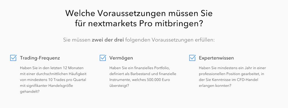 nextmarkets Pro Konto Voraussetzungen