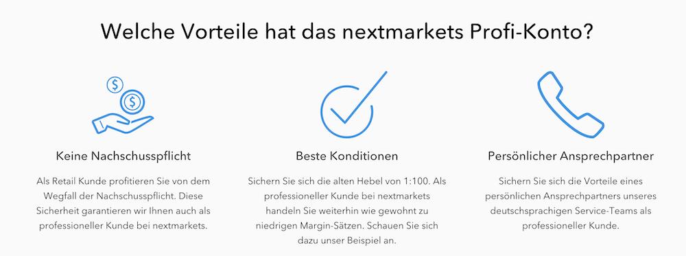 nextmarkets Pro Konto Vorteile