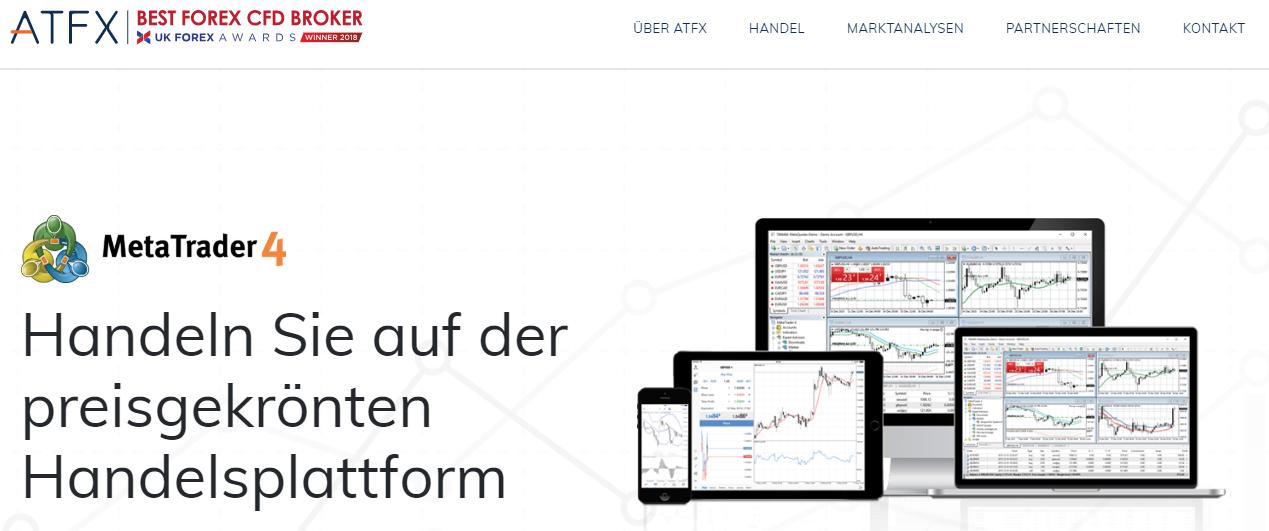 Bei ATFX können Sie auf der preisgekrönten MT4 Plattform traden