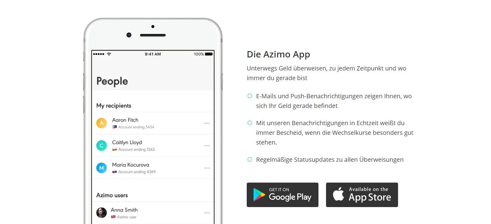 Azimo bietet die App für Überweisungen von Mobilgeräten an