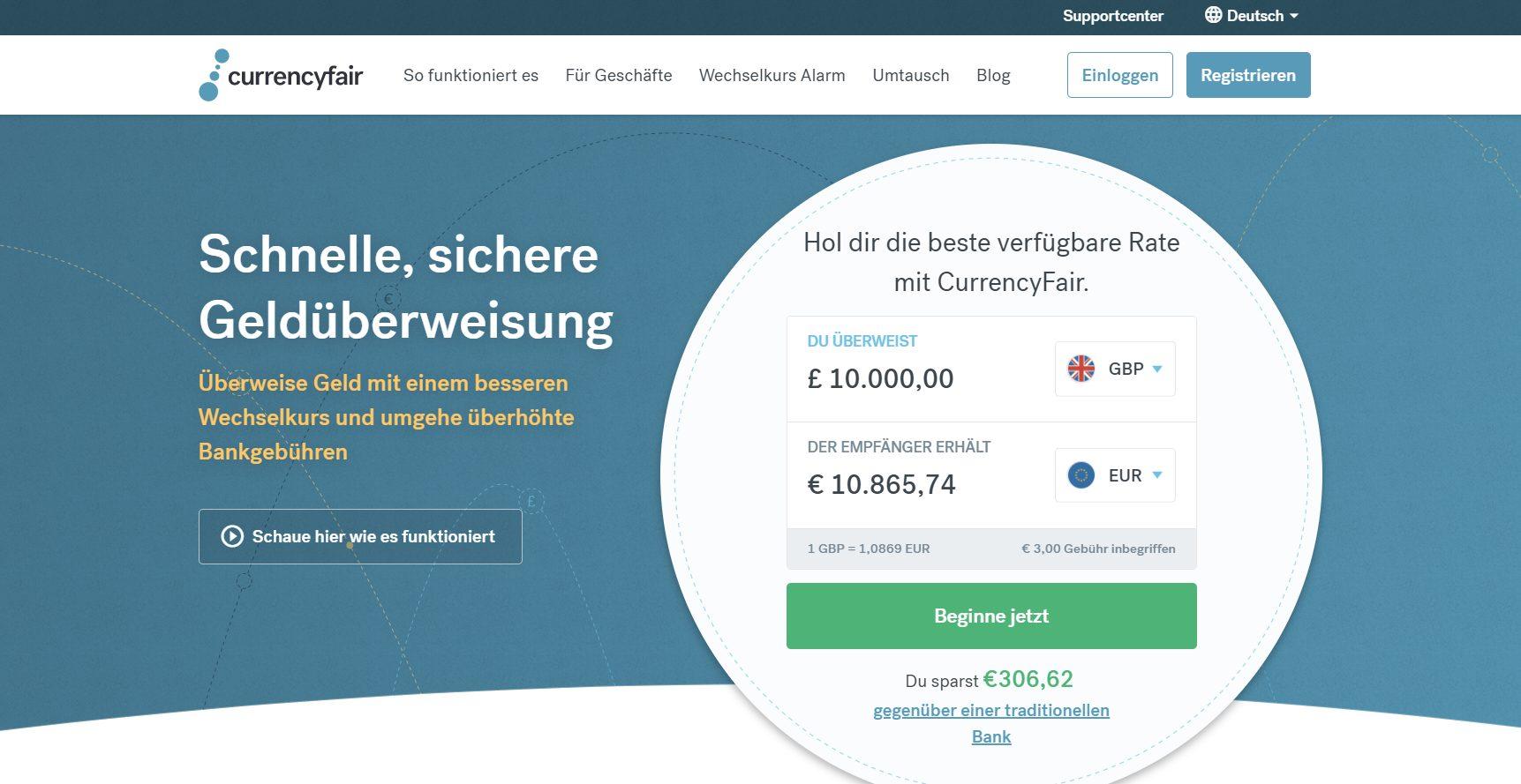 Ein Blick auf die Website von CurrencyFair