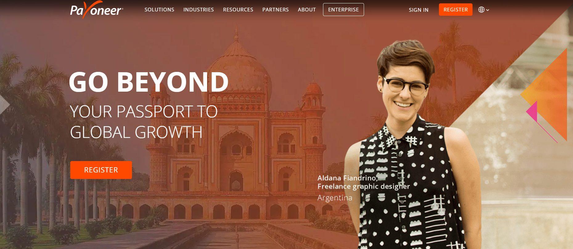 Ein Blick auf die Payoneer Website