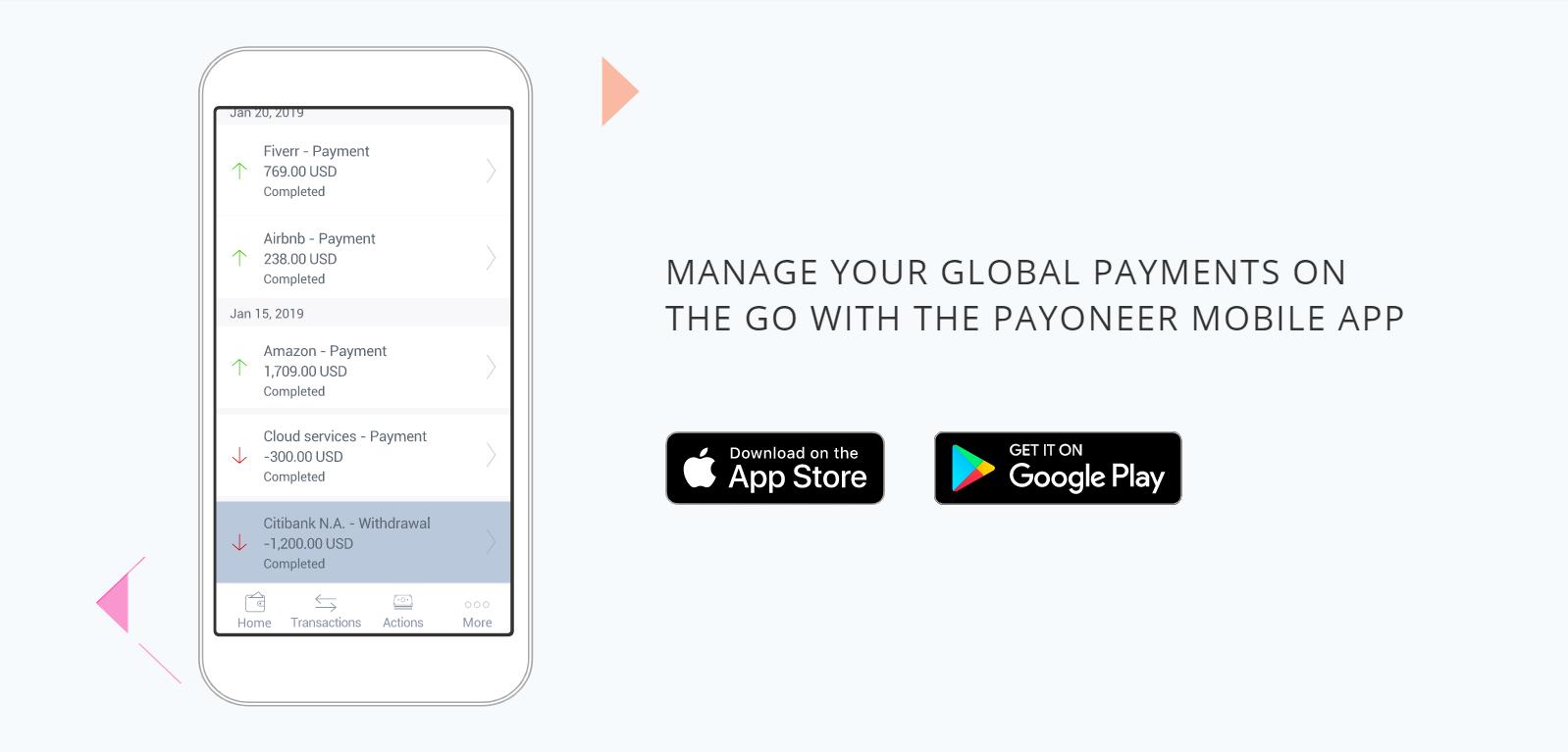 Payoneer bietet auch eine mobile App für den Zahlungsverkehr an