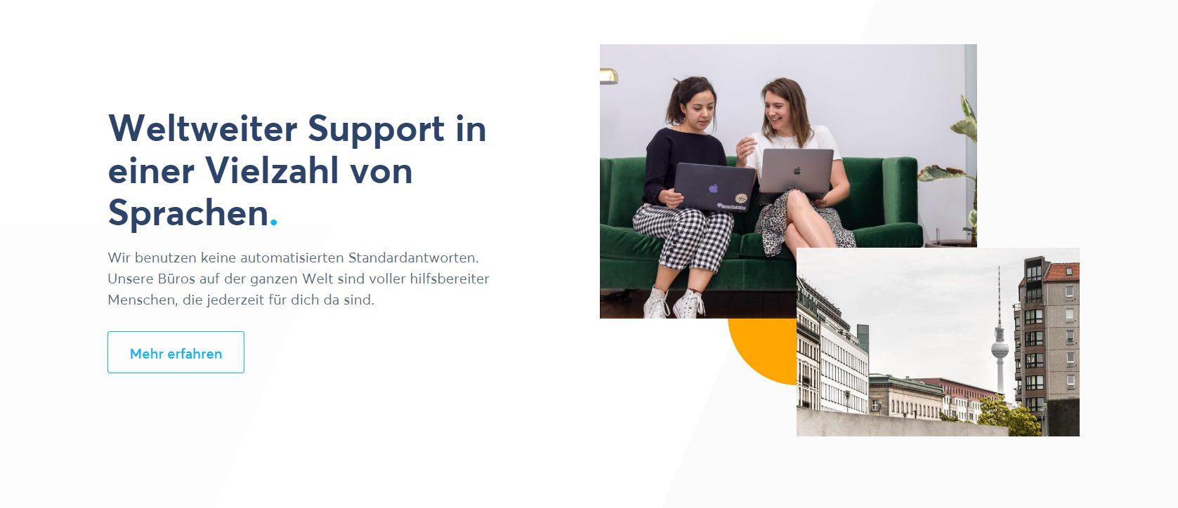 TransferWise offeriert einen Kundensupport in vielen Sprachen an.