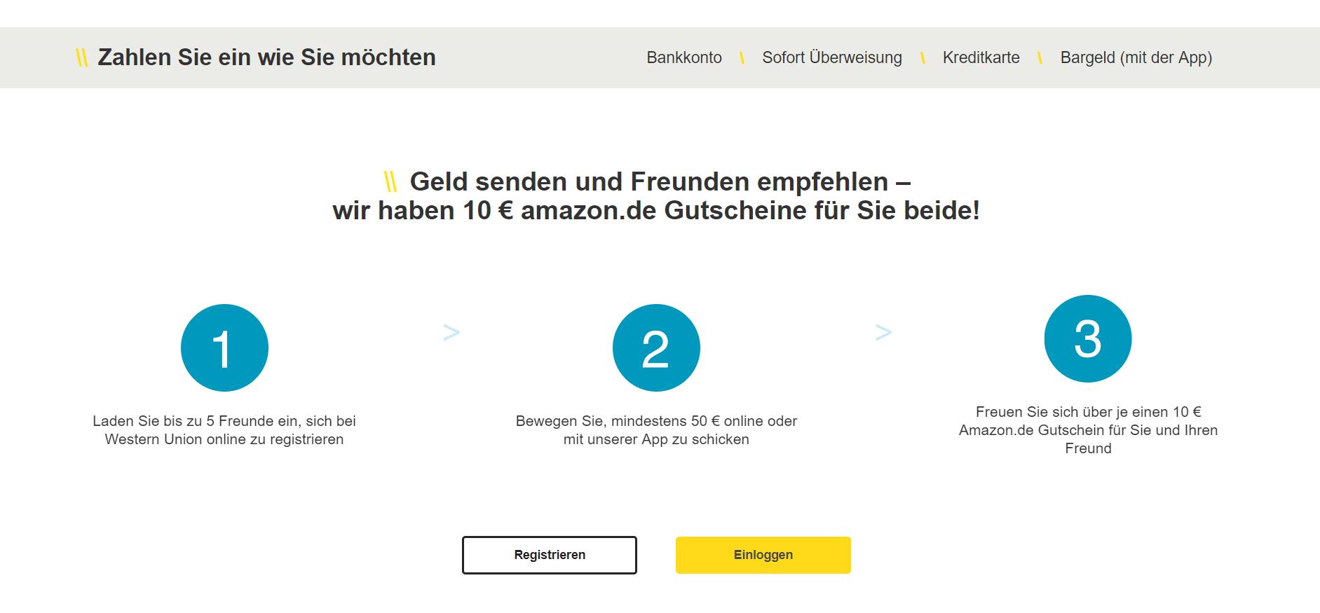 Western Union bietet verschiedene Zahlungsmöglichkeiten an