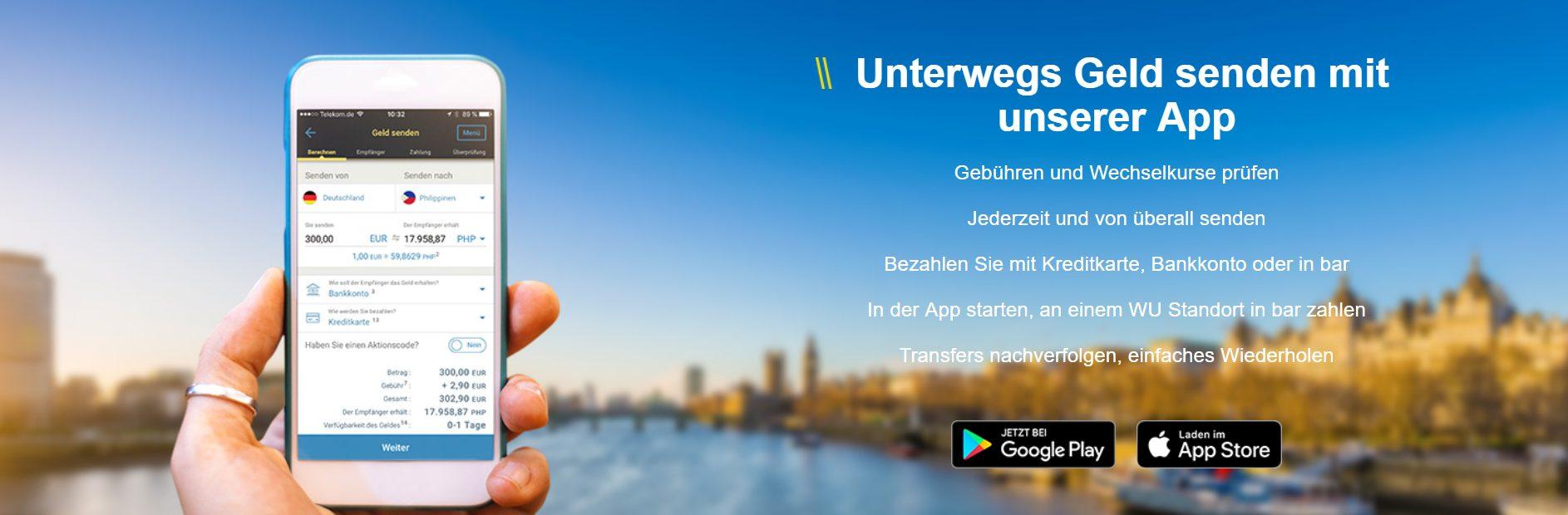 Western Union bietet eine App an um auch unterwegs Geld senden zu können