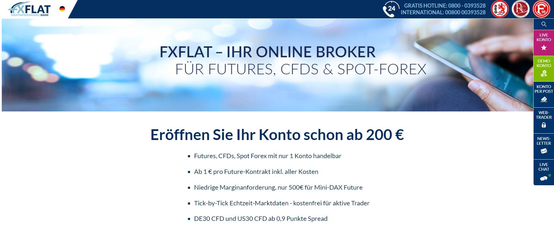 Ein Blick auf die Website von FXFLAT